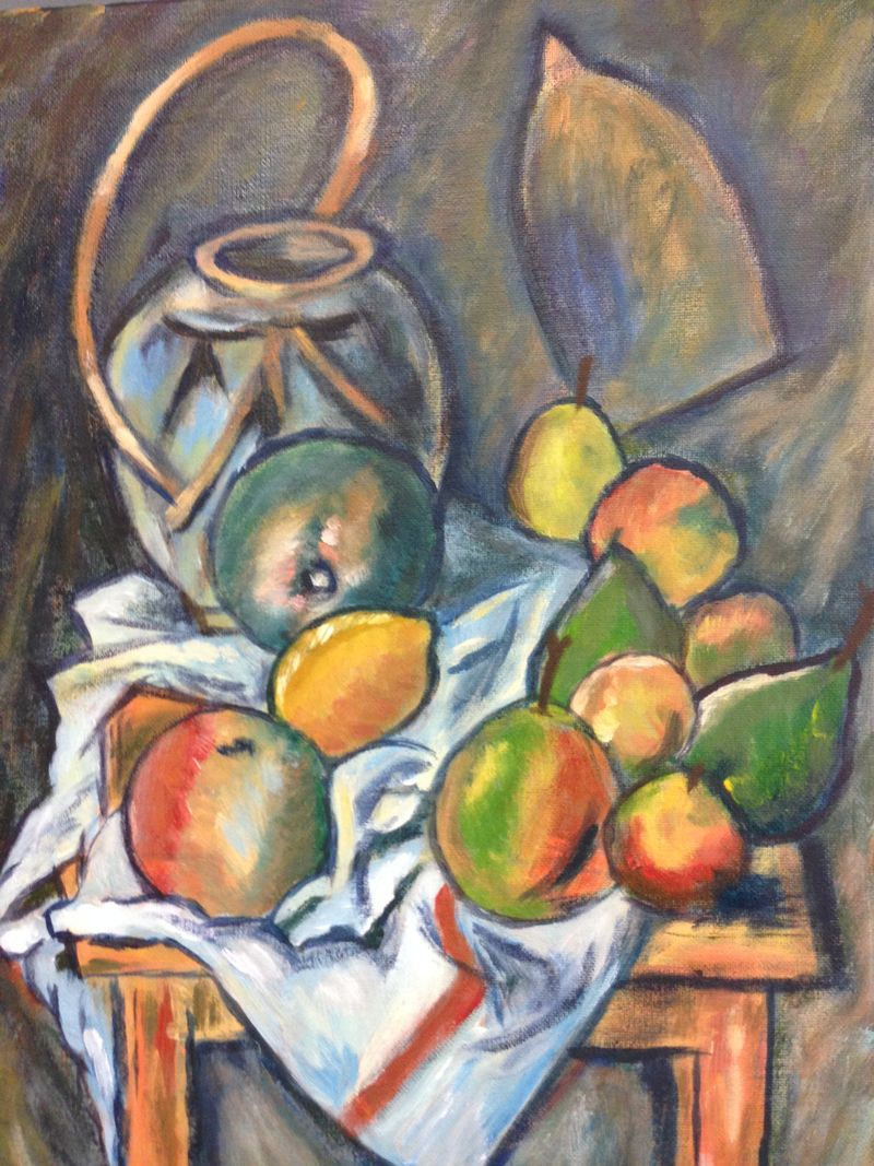 Cezanne: Still life with Ginger Jar and Fruit, 1895 | Student painting completed in one GQP session at Inglis Academy