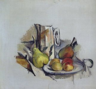 Cezanne: Still life with a jug and fruit, 1890