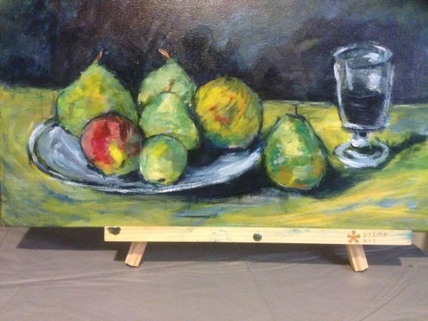 Cezanne: Still Life with Pears and Glass, 1879: a hand painted interpretation by Sydney artist Peter Inglis.