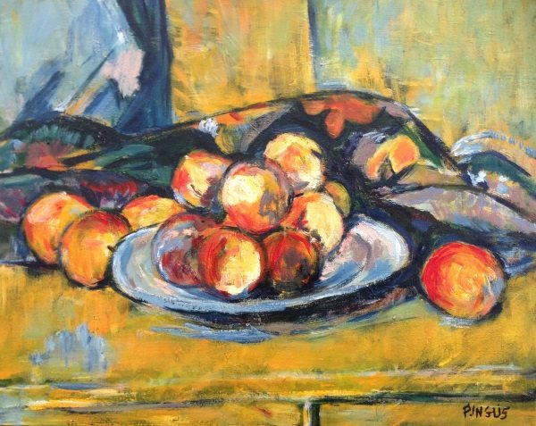 "Cezanne's ""Still Life with a plate of Peaches"" from 1900 - painted by Peter Inglis."