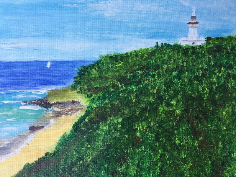 Angela Tjeuw's Wategos Beach, Byron Bay, Lighthouse painting, October 2017