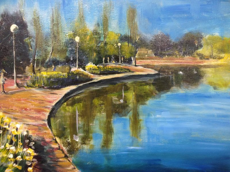 Nerang Pool, Canberra  - original painting by Peter Inglis ©2017
