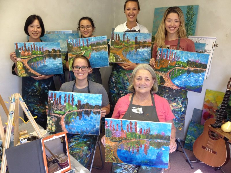 Student's paintings of Lake Nerang in Canberra - using only flat brushes.