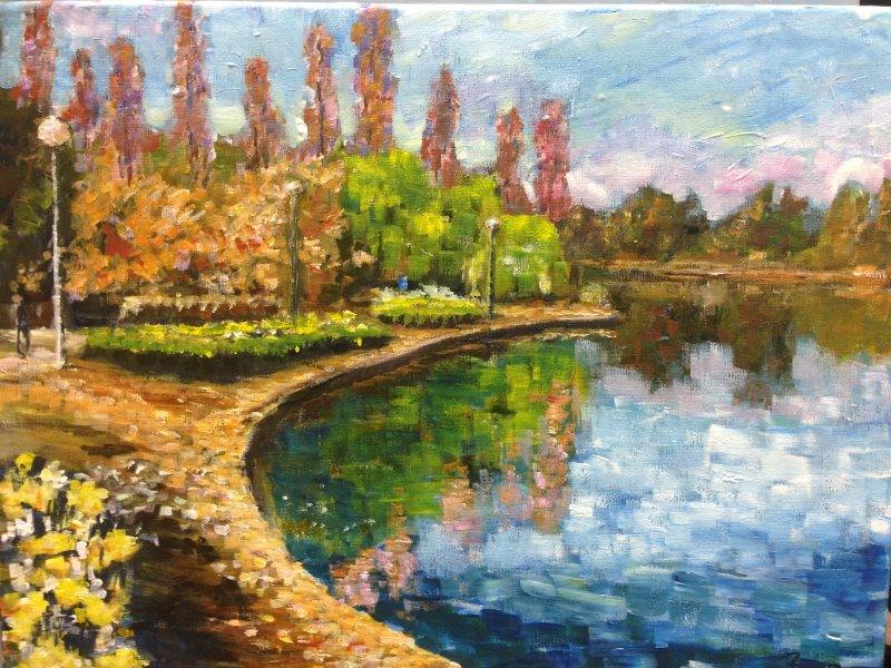 Nerang Pool, Canberra with flat brushes  - original painting by Peter Inglis ©2017