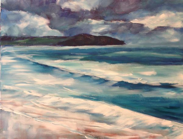 Dee Why Beach - a painting by Peter Inglis. Complete this painting yourself in only one lesson at Inglis Academy!