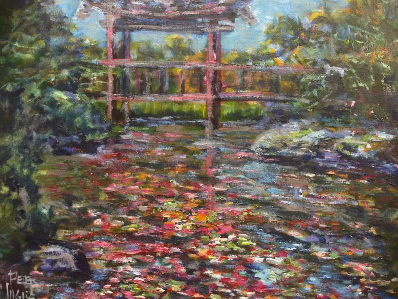 'Dance of the Cherry Blossoms' - An original Australian Landscape by Peter Inglis' - painted in just one 2 hour session!.