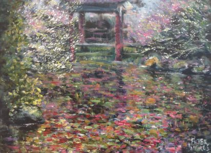 Cherry Blossoms and Water Lilies - painting © 2017 Peter Inglis.