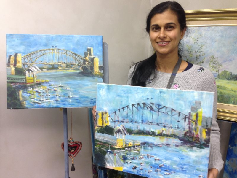 Lavender Bay, Sydney Harbour by Peter Inglis - Latha's version, completed in her first coaching session!
