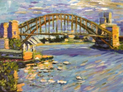 Sydney Harbour Bridge (from Lavender Bay) - painting © 2017 Peter Inglis.