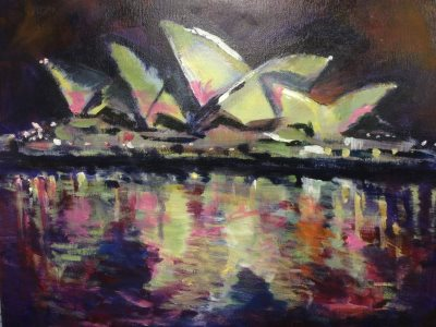 Sydney Opera House in -Vivid- colours - painting © 2017 Peter Inglis.