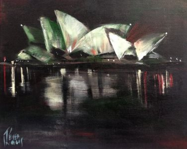 Sydney Opera House - a jewel in the night - painting © 2017 Peter Inglis.