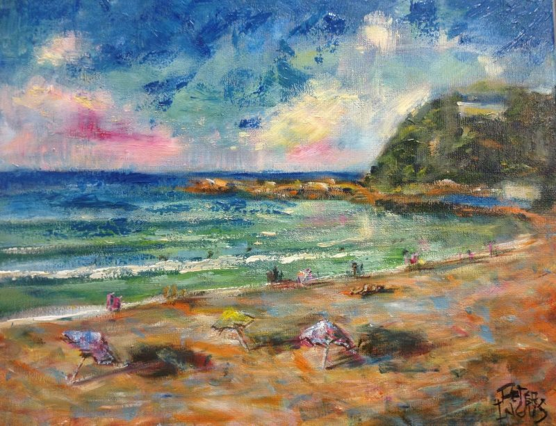 Palm Beach South: Beach & Brollies - An original Australian Landscape by Peter Inglis.