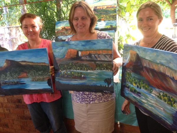 Pentecost River crossing in the Kimberleys - Student paintings at Inglis Academy