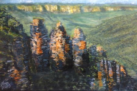 Atmospheric Perspective & Greys: Three Sisters (Blue Mountains) - painting © 2017 Peter Inglis.