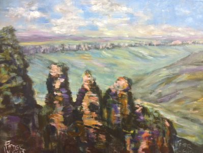 Three Sisters, Blue Mountains - painting © 2017 Peter Inglis.