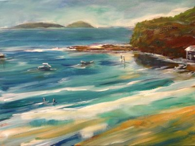 Beach & Boats (Toukley on the Central Coast) - painting © 2017 Peter Inglis.