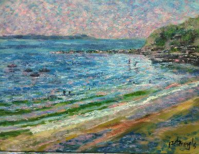 Beach & Boats at Toukley ala Monet - painting © 2018 Peter Inglis.