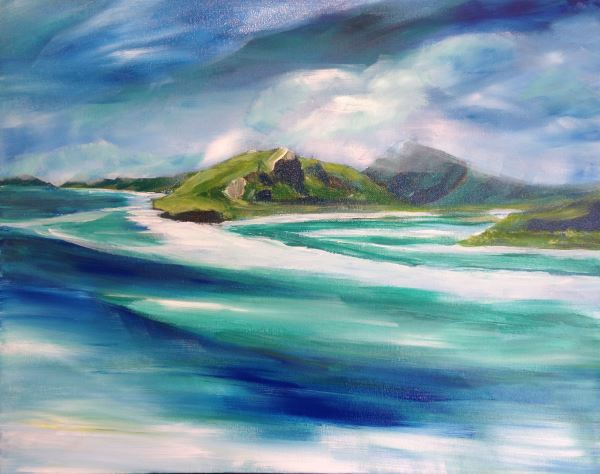 Hill Inlet and Whiteheaven Beach in the Whitsunday Islands, a landscape painting lesson at Inglis Academy