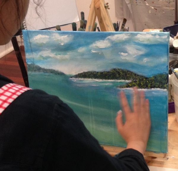 Student version of 'Easy Aussie Landscape' - An original Australian Landscape by Peter Inglis' - painted in just one 2 hour session!.