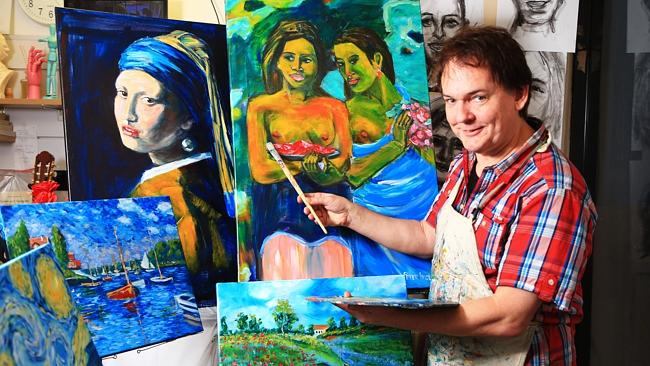 Peter Inglis, from his art store in St Leonards, teaches people how to paint the masters in four hours. Picture: Adam Taylor
