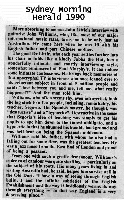 John Williams in the Sydney Morning Herald, 1990