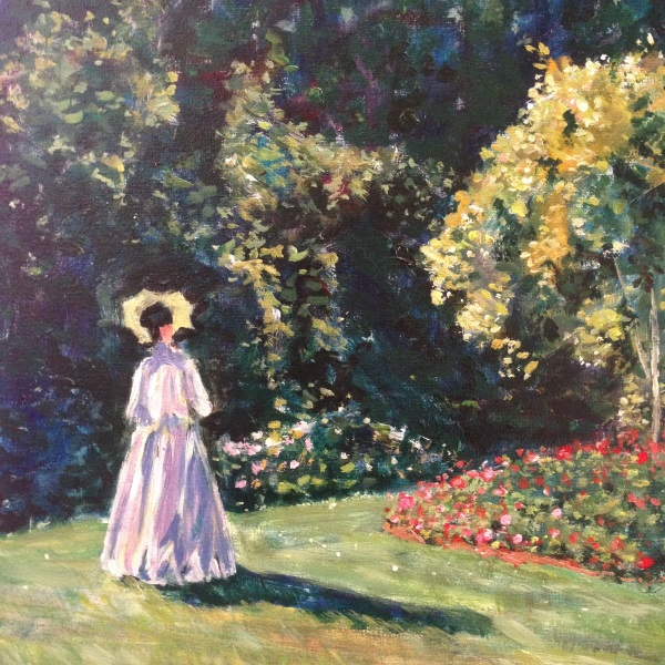 DETAIL: Monet's 'Jeanne Marguerite Lecadre in the Garden, 1866' painted by Sydney artist Peter Inglis.