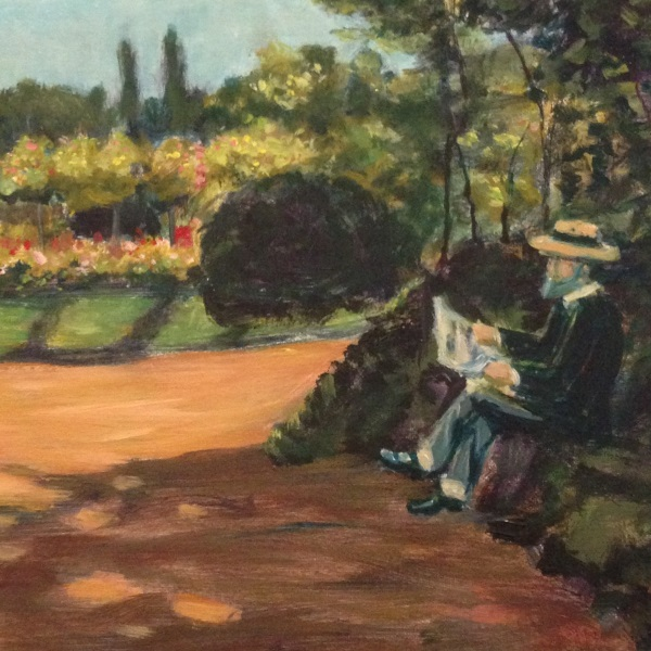 Adolphe Monet reading in the Garden, 1866 by Sydney artist Peter Inglis - DETAIL VIEW