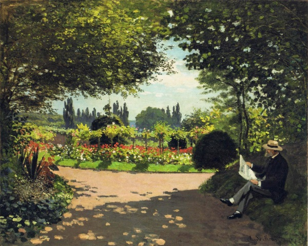 Adolphe Monet reading in the Garden, 1866.