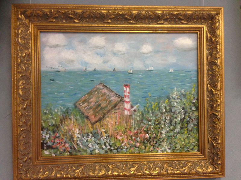 Monet: Cabin at Sainte-Adresse, 1867 \\o// Painting completed by a student in one session at Inglis Academy - www.inglisacademy.com