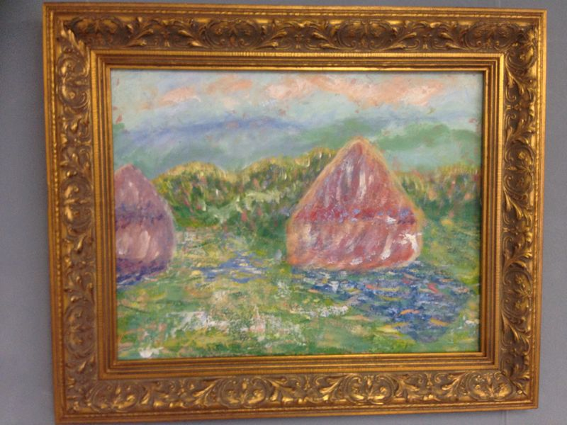 Monet: Haystacks: White Frost, sunrise, 1889 | Student painting completed in one session at Inglis Academy - www.inglisacademy.com