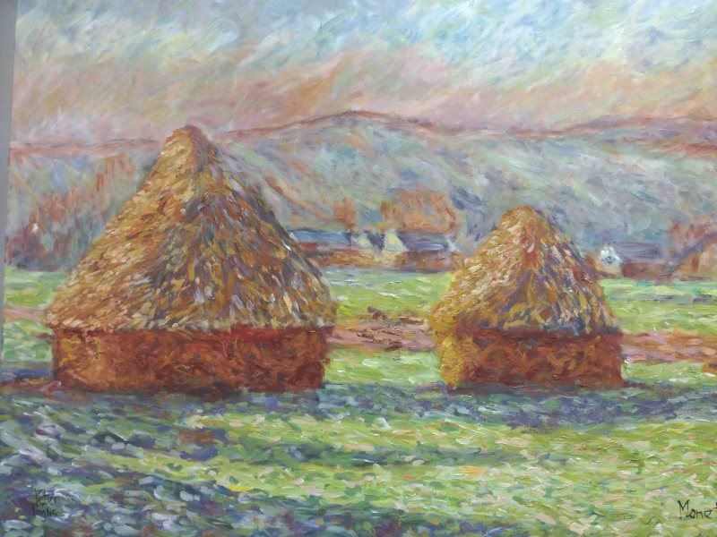 Monet: Haystacks: White Frost, sunrise, 1889 - an interpretation by Peter Inglis. Learn this painting at Inglis Academy