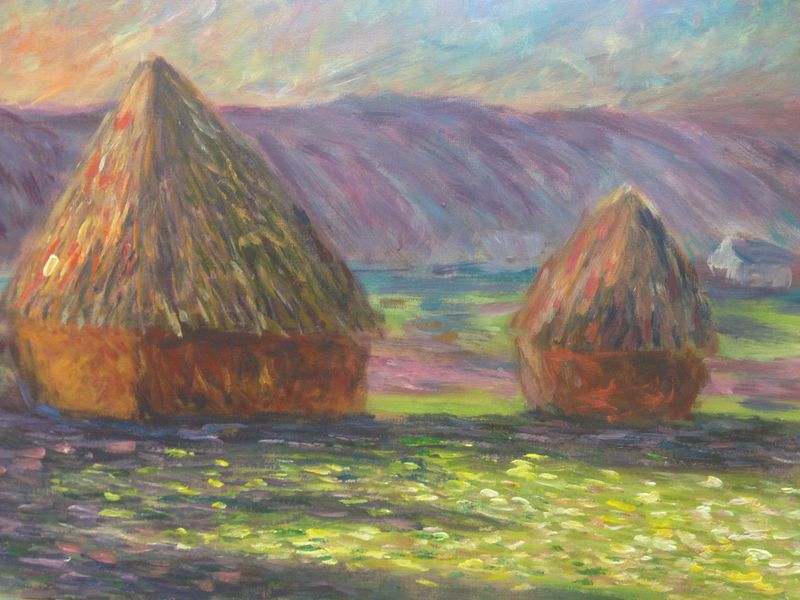 Monet: Haystacks: White Frost, sunrise, 1889 - an student painting completed in one lesson at Inglis Academy