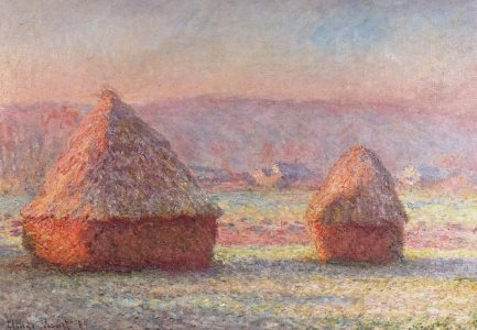 Monet: Haystacks: White Frost, sunrise, 1889 - learn this painting at Inglis Academy