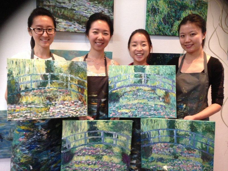 Beginners with their Monet, painted in just one session at Inglis Academy
