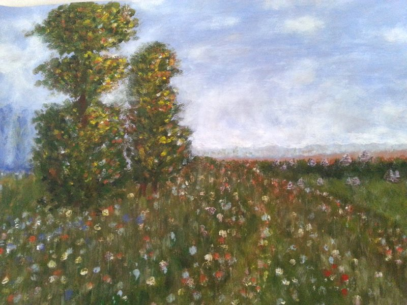 Monet: Meadow with Poplars as painted by Gerry after her first lesson at Inglis Academy