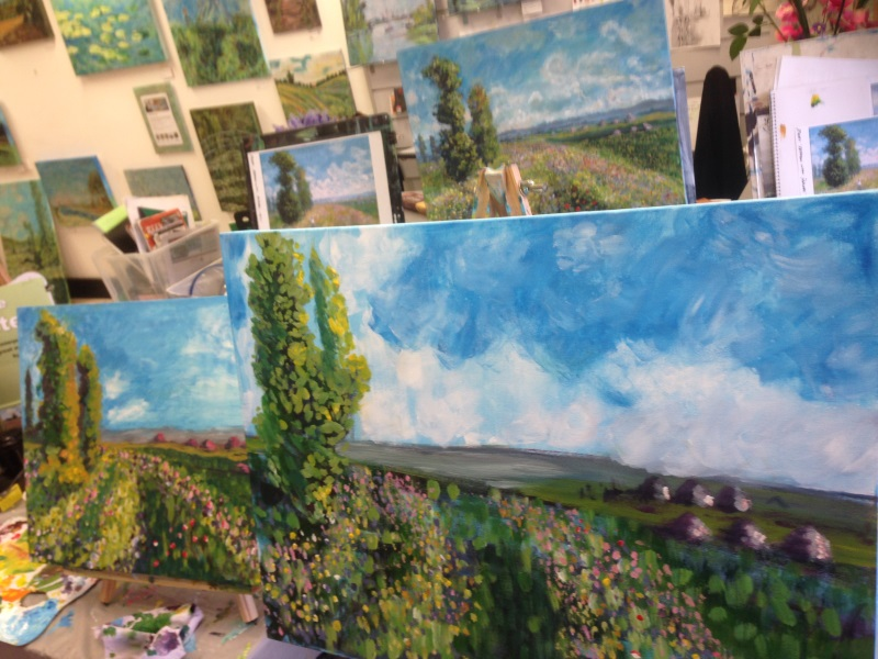 Monet, Meadow with Poplars - student paintings at Inglis Academy