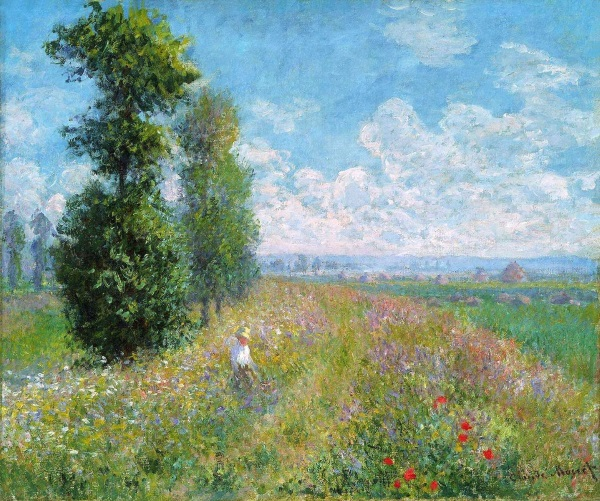 Monet: Meadow with Poplars, 1875