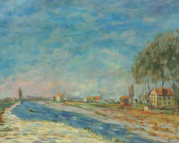 Monet's ' Plain at Colombes with white Frost, 1873 ' painted by Sydney artist Peter Inglis.