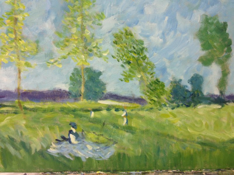 Sharon's painting of Monet: Summer (Meadow at Bezons), 1874, completed in one coaching session at Inglis Academy, Sydney.