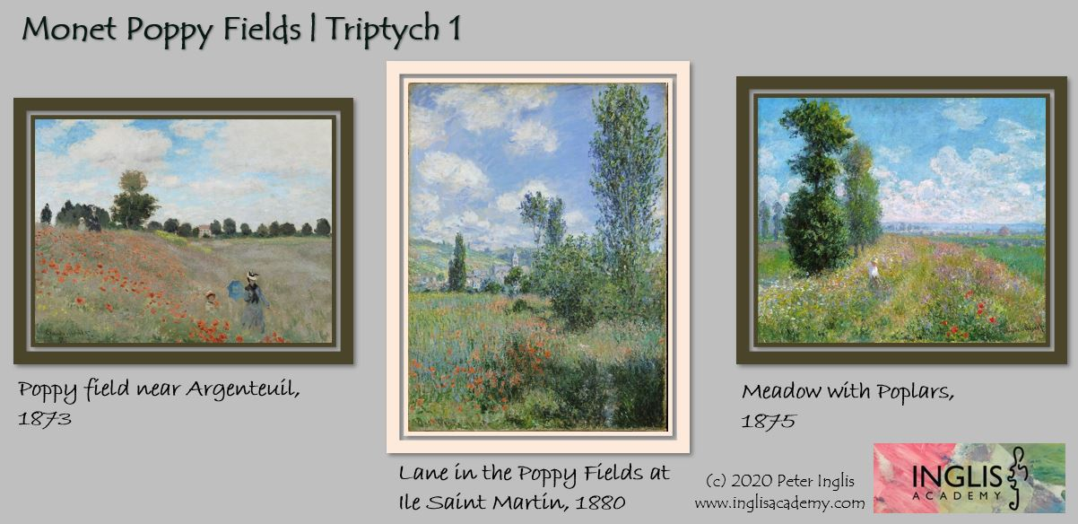 Monet's Poppy Fields Triptych 1 | Paint this at Inglis Academy - www.inglisacademy.com | Image © Peter Inglis, 2020