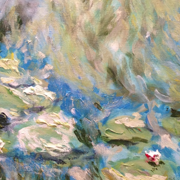 Detail from Monet: Waterlilies, 1906, No.1. - a hand painted interpretation by Sydney based artist Peter Inglis.