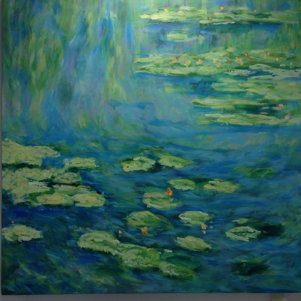 Monet: Waterlilies, 1906, No.1. - a hand painted interpretation by Sydney based artist Peter Inglis.