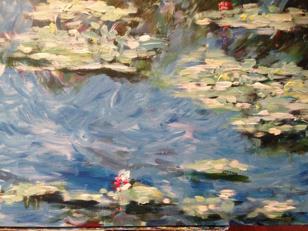 Monet: Water Lilies 1906, No.3 by Peter Inglis - At stage 3: Texture, you can clearly see the varieties of brushstrokes.