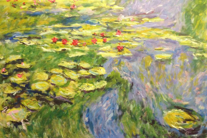 Monet: Water Lilies, 1919, No.2 \\o// Paint this in just one session at Inglis Academy - www.inglisacademy.com.