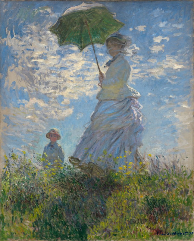 Monet: Woman with a Parasol, 1875 - Paint Monet's Woman with a Parasol, 1875 in just one session at Inglis Academy - www.inglisacademy.com