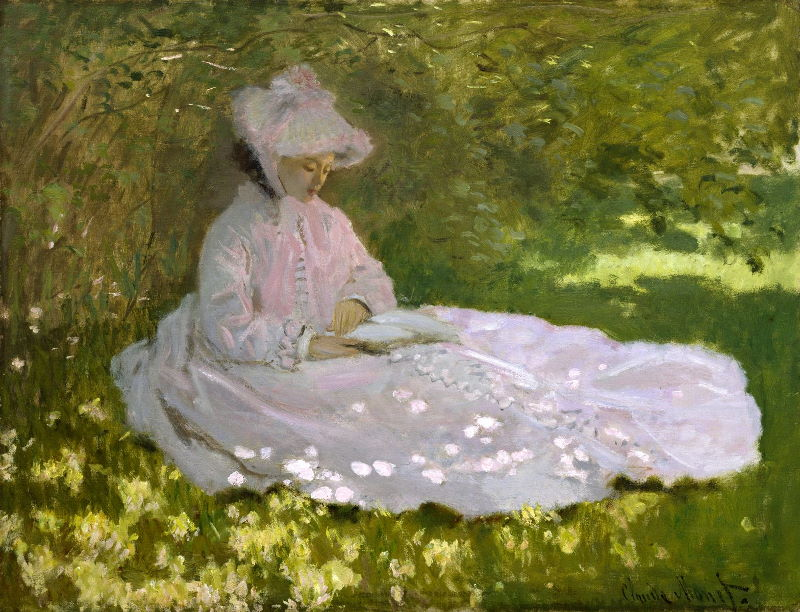 Monet: Woman Reading, 1872 \\o// Paint this at Inglis Academy - www.inglisacademy.com.