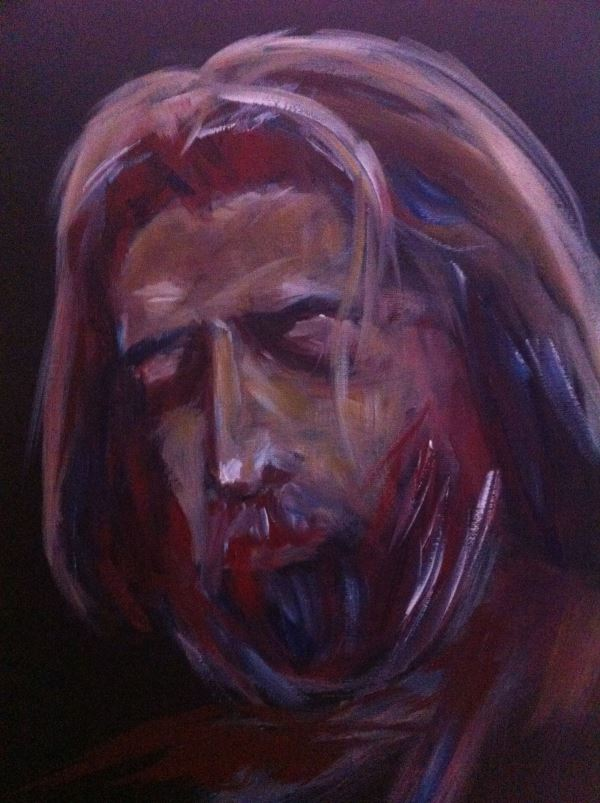 Eric Clapton in the early 1970's (painted by Peter Inglis)