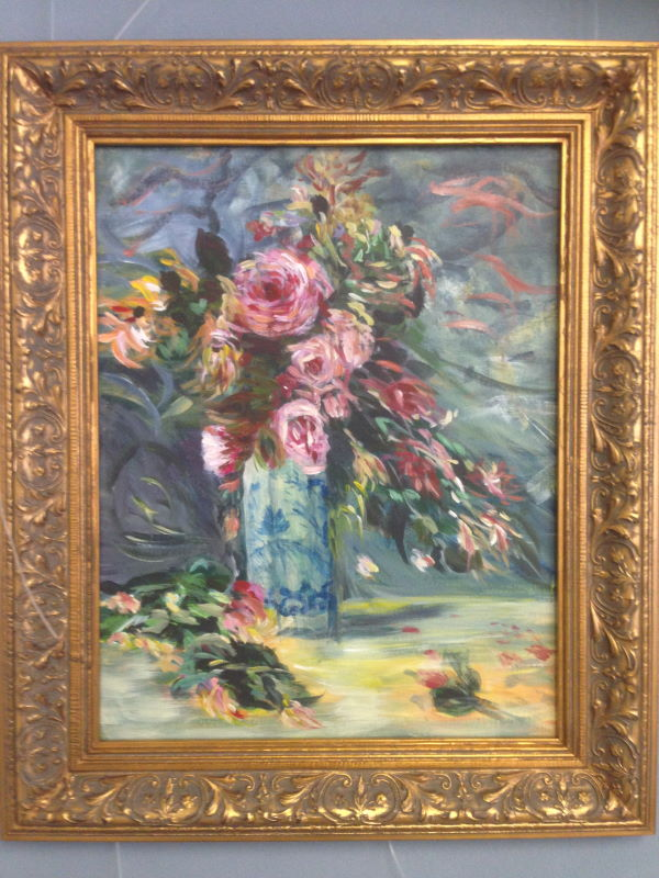 Renoir: Roses & Jasmine in a Delft Vase, 1890 - student painting completed in one session at Inglis Academy in Sydney, Australia - www.inglisacademy.com