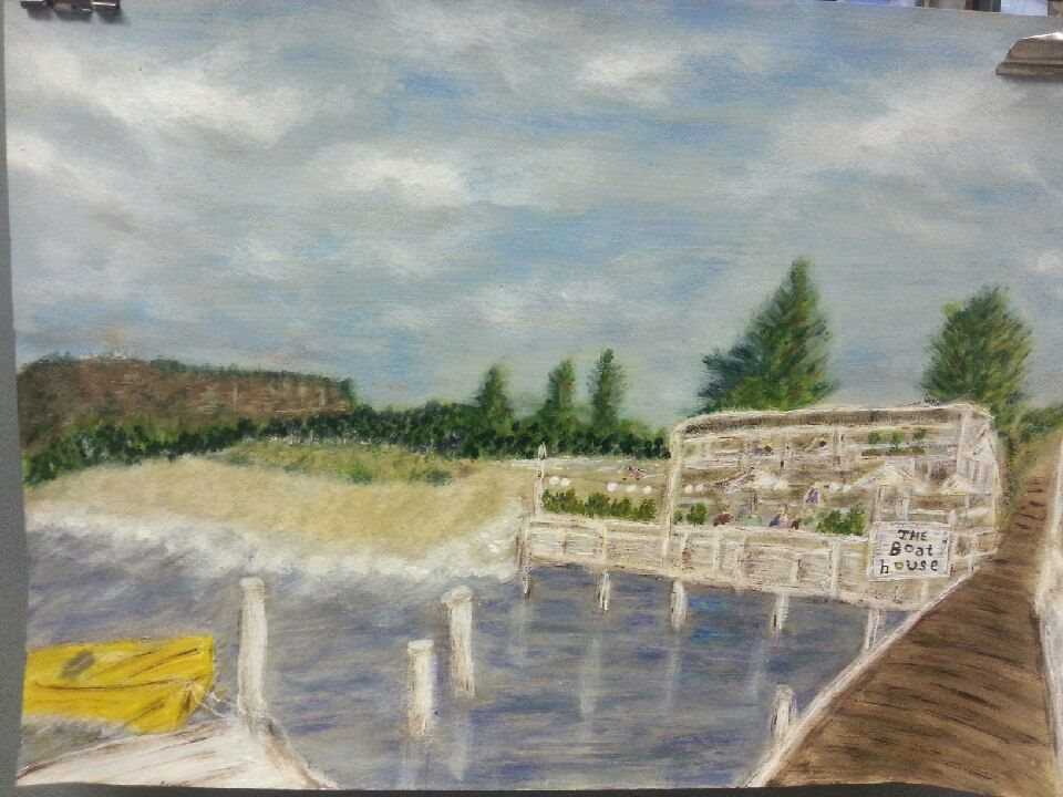 Gerry's Boathouse - student painting undergoing tweaking at Inglis Academy