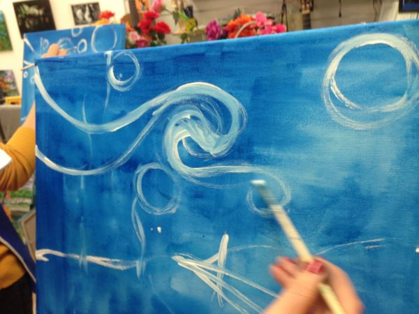 "One of my students finding the ryhthm in Van Gogh's ""Starry Night""."